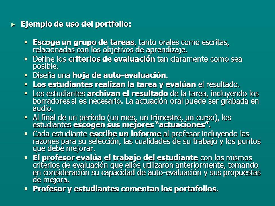 Ejemplo de uso del portfolio: