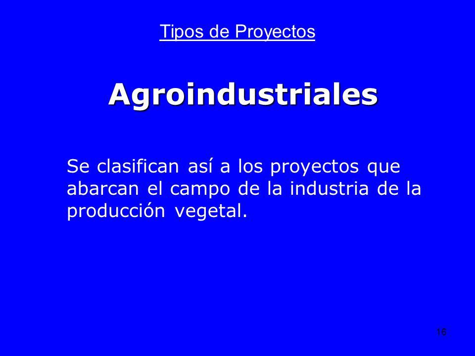 Agroindustriales Tipos de Proyectos