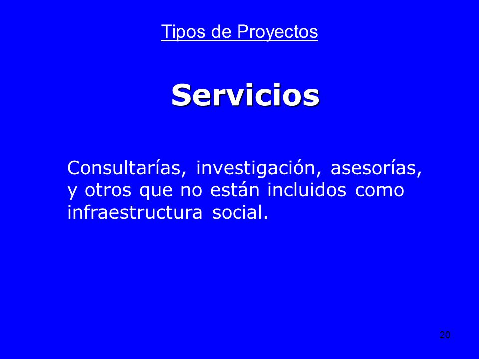 Servicios Tipos de Proyectos
