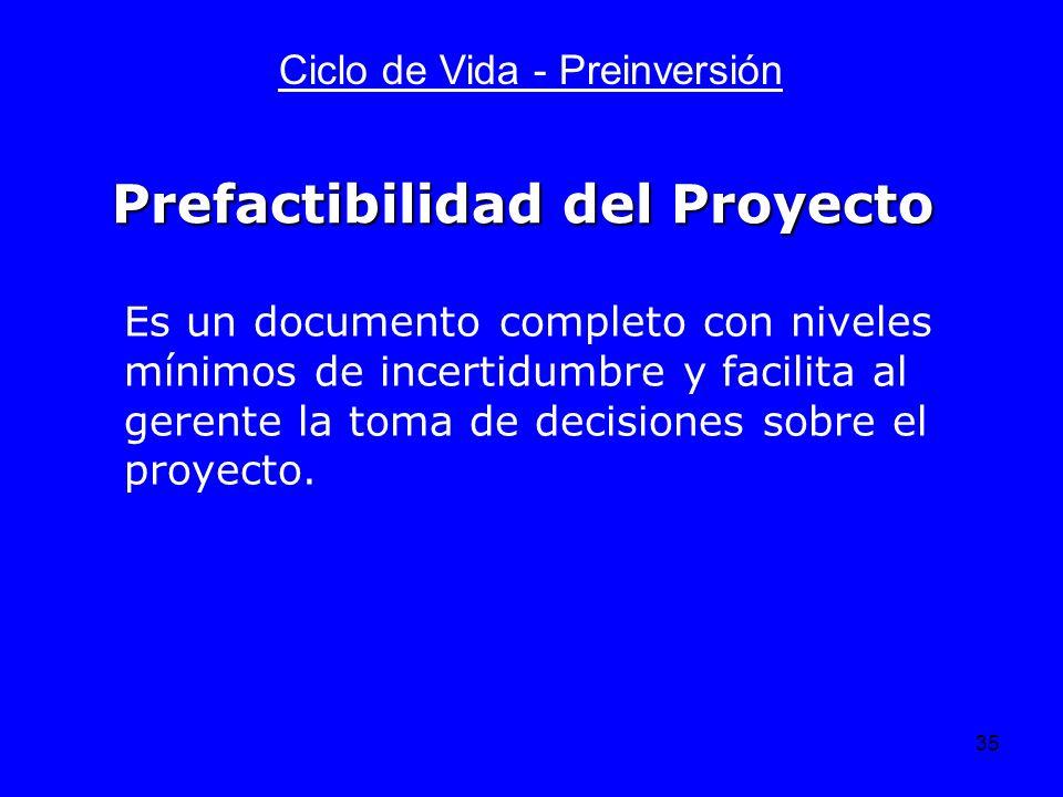 Prefactibilidad del Proyecto