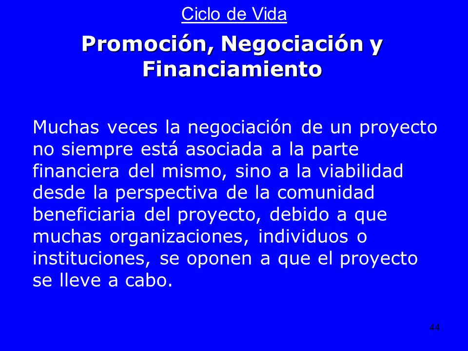Promoción, Negociación y Financiamiento