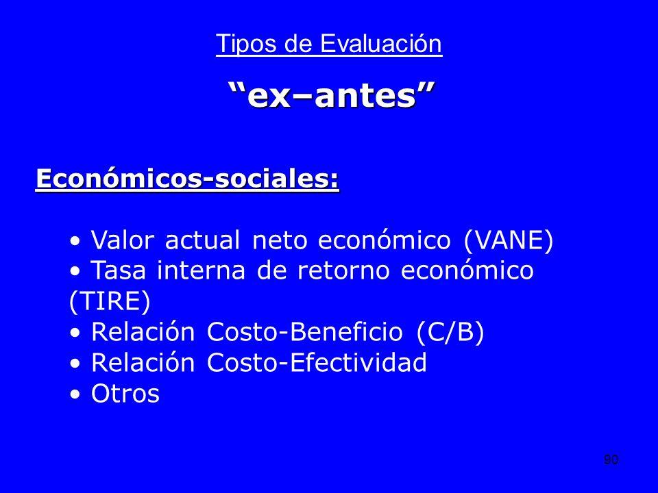 ex–antes Tipos de Evaluación Económicos-sociales: