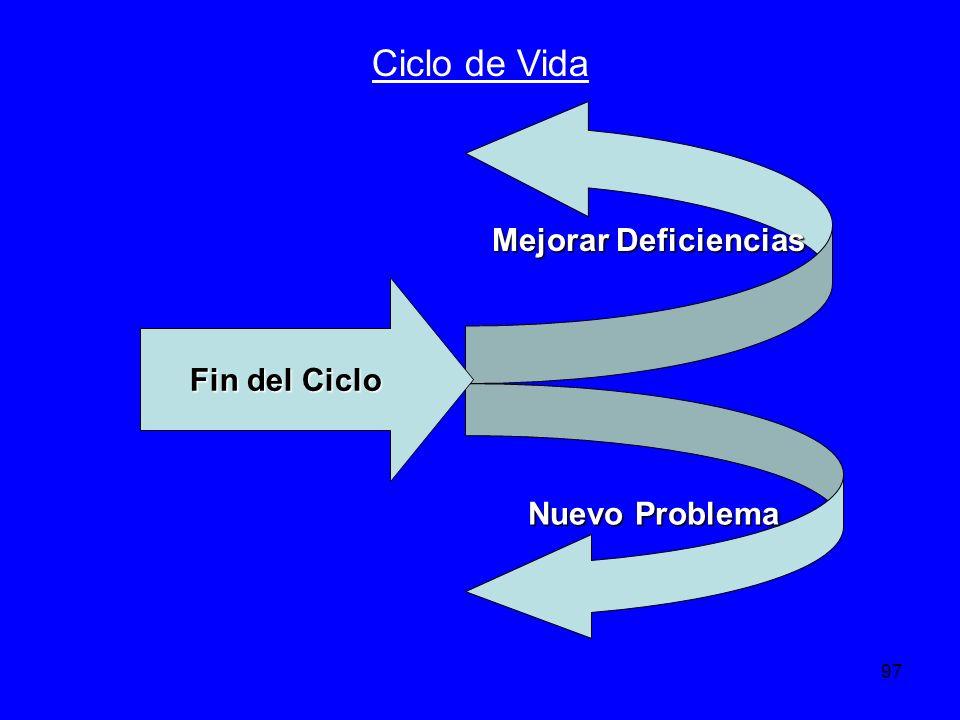Ciclo de Vida Mejorar Deficiencias Fin del Ciclo Nuevo Problema