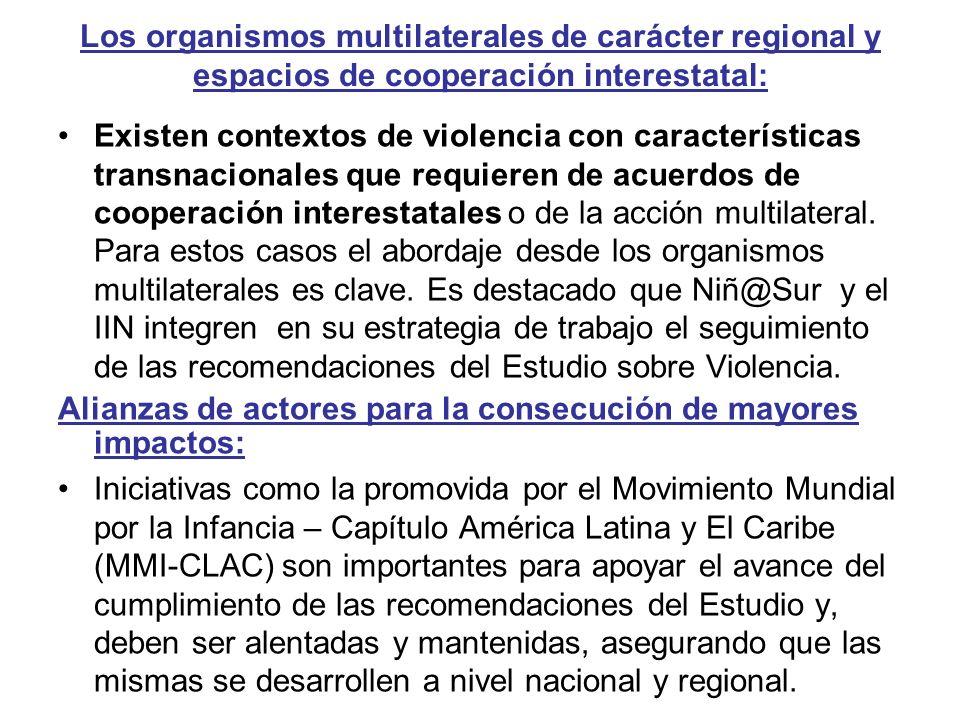 Los organismos multilaterales de carácter regional y espacios de cooperación interestatal: