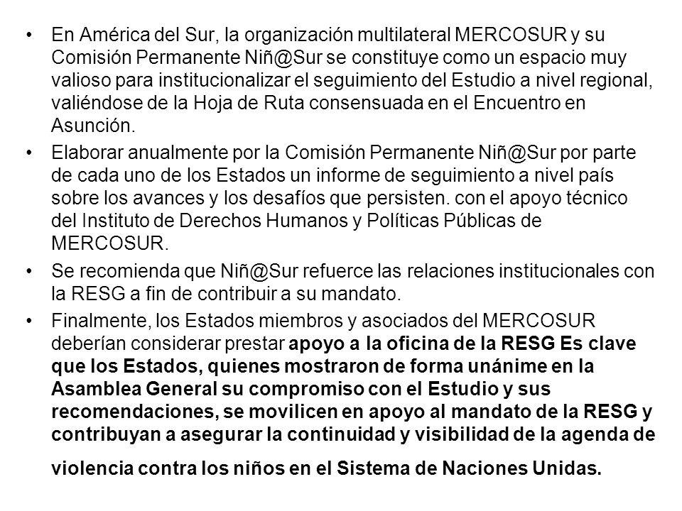 En América del Sur, la organización multilateral MERCOSUR y su Comisión Permanente Niñ@Sur se constituye como un espacio muy valioso para institucionalizar el seguimiento del Estudio a nivel regional, valiéndose de la Hoja de Ruta consensuada en el Encuentro en Asunción.