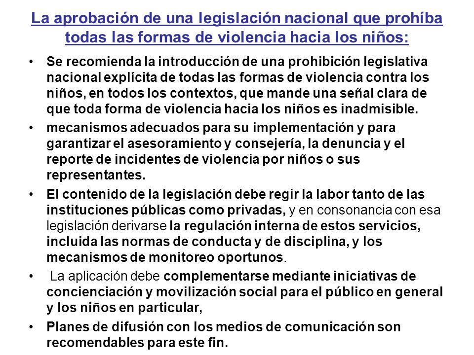 La aprobación de una legislación nacional que prohíba todas las formas de violencia hacia los niños: