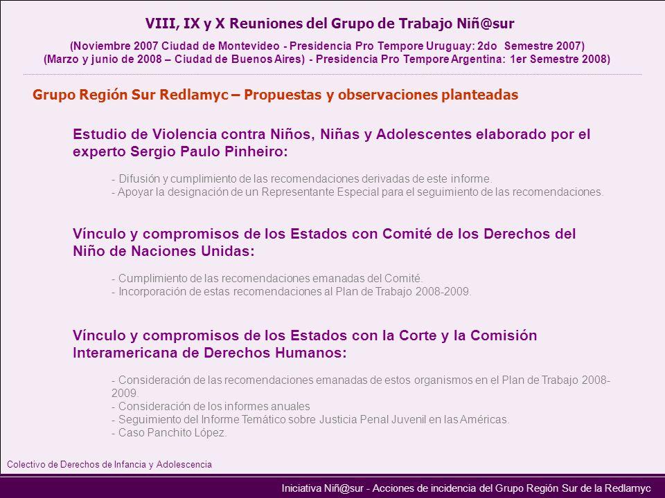 VIII, IX y X Reuniones del Grupo de Trabajo Niñ@sur