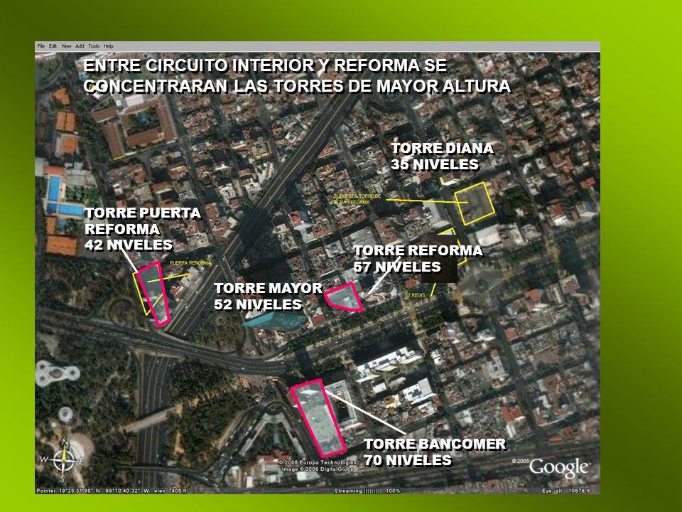 ENTRE CIRCUITO INTERIOR Y REFORMA SE CONCENTRARAN LAS TORRES DE MAYOR ALTURA