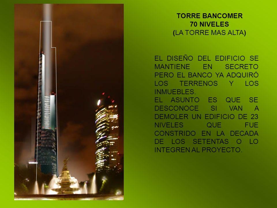 TORRE BANCOMER 70 NIVELES. (LA TORRE MAS ALTA) EL DISEÑO DEL EDIFICIO SE MANTIENE EN SECRETO PERO EL BANCO YA ADQUIRÓ LOS TERRENOS Y LOS INMUEBLES.