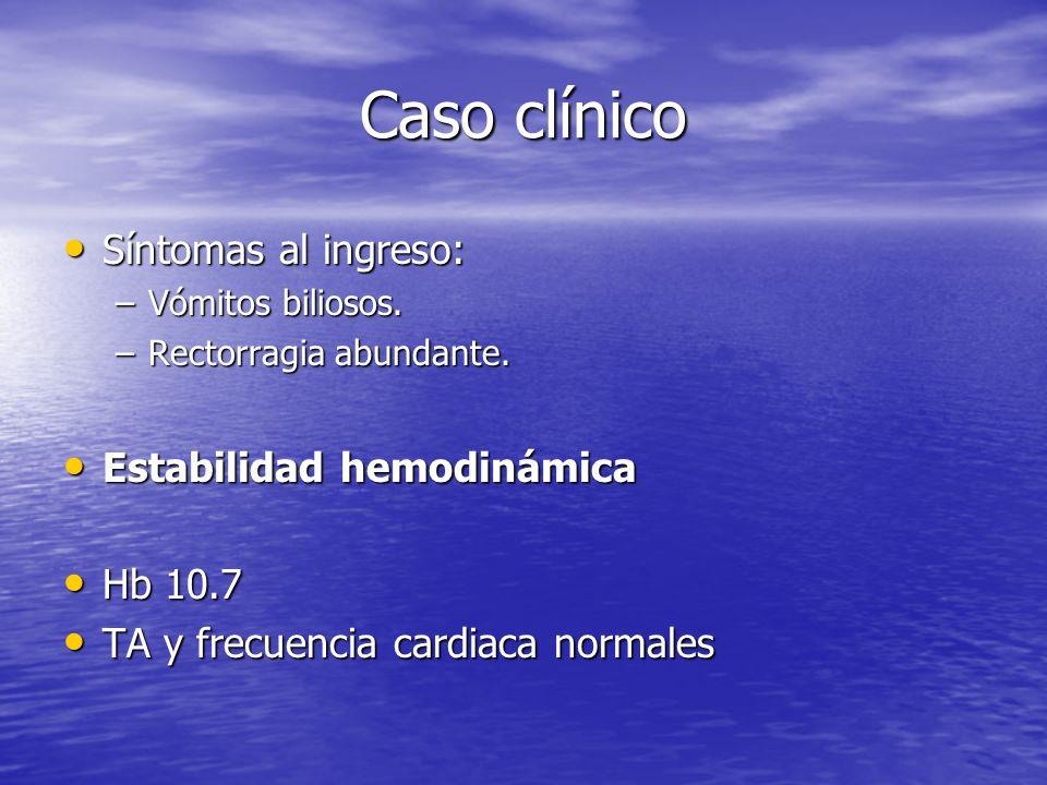 Caso clínico Síntomas al ingreso: Estabilidad hemodinámica Hb 10.7