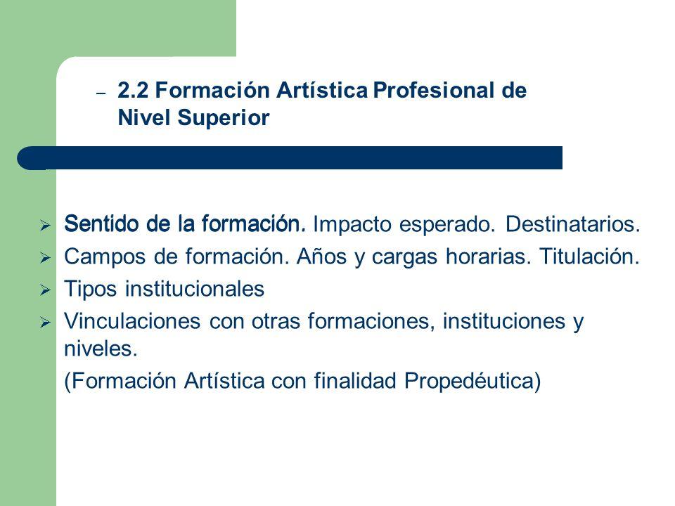 2.2 Formación Artística Profesional de Nivel Superior