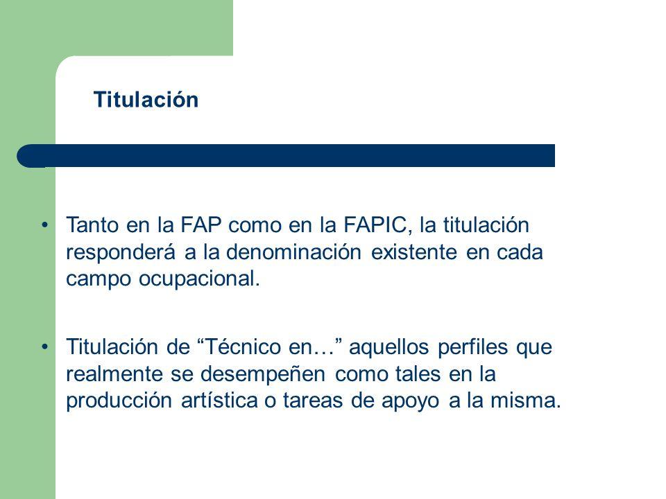 Titulación Tanto en la FAP como en la FAPIC, la titulación responderá a la denominación existente en cada campo ocupacional.
