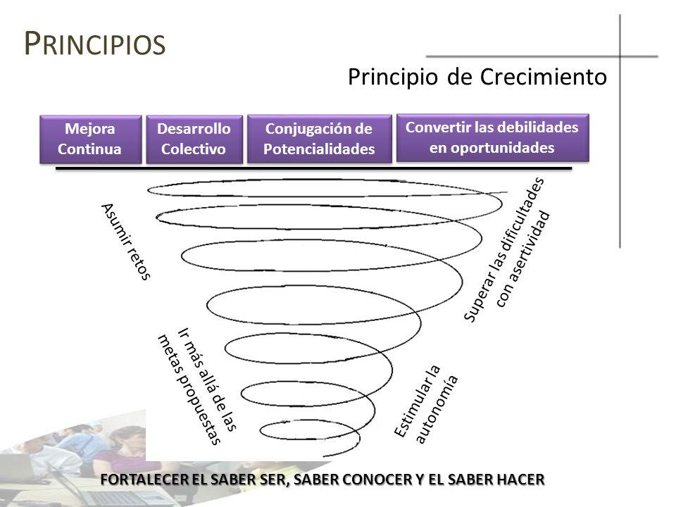 Principios Principio de Crecimiento Mejora Continua Desarrollo