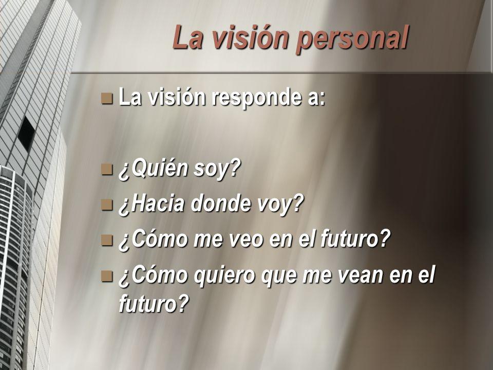 La visión personal La visión responde a: ¿Quién soy ¿Hacia donde voy