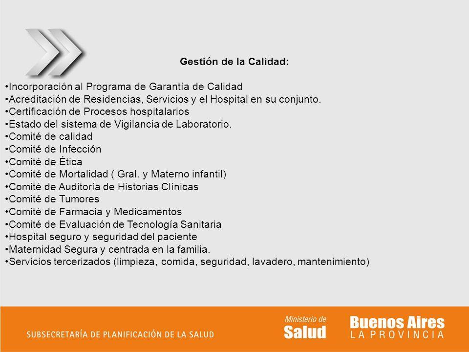 Gestión de la Calidad: Incorporación al Programa de Garantía de Calidad. Acreditación de Residencias, Servicios y el Hospital en su conjunto.