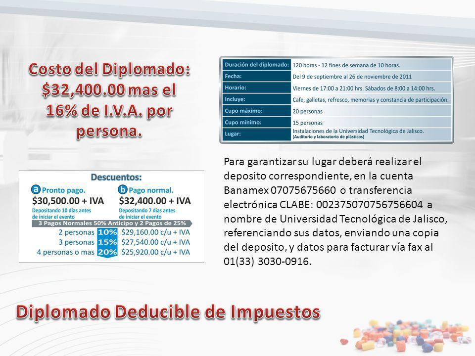 Costo del Diplomado: $32,400.00 mas el 16% de I.V.A. por persona.