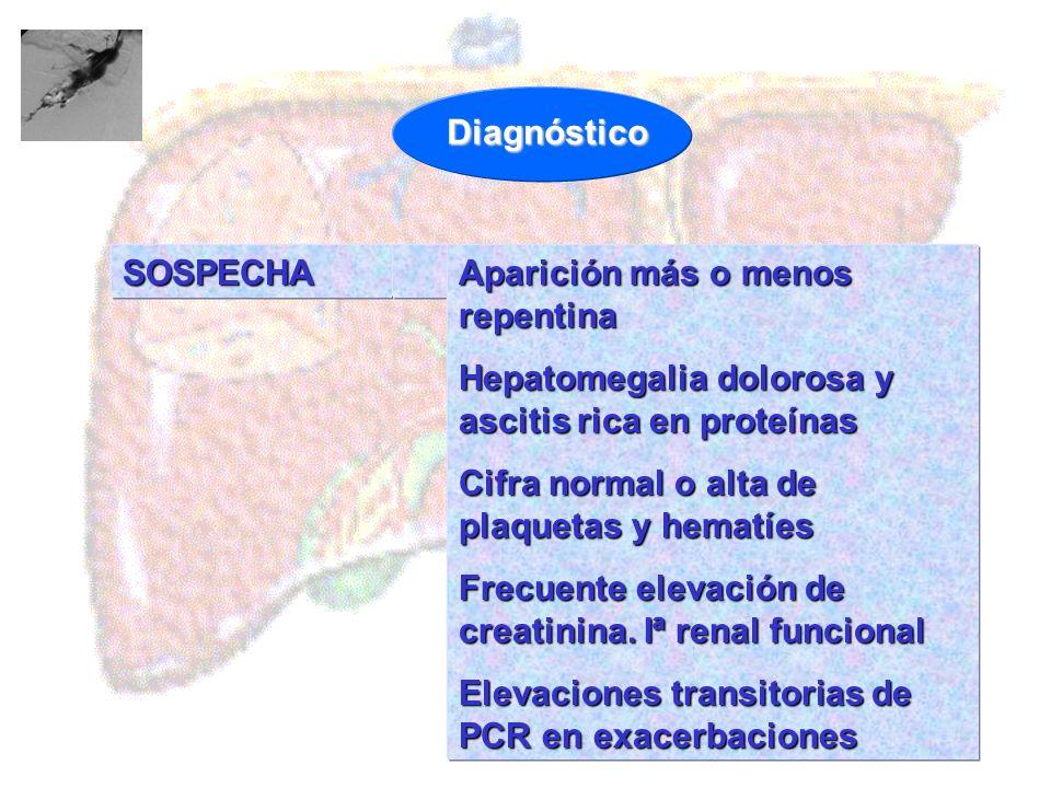 Diagnóstico SOSPECHA. Aparición más o menos repentina. Hepatomegalia dolorosa y ascitis rica en proteínas.