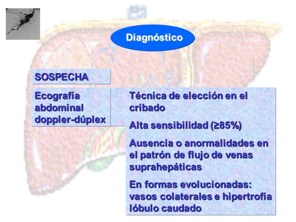 Diagnóstico SOSPECHA. Ecografía abdominal doppler-dúplex. Técnica de elección en el cribado. Alta sensibilidad (≥85%)