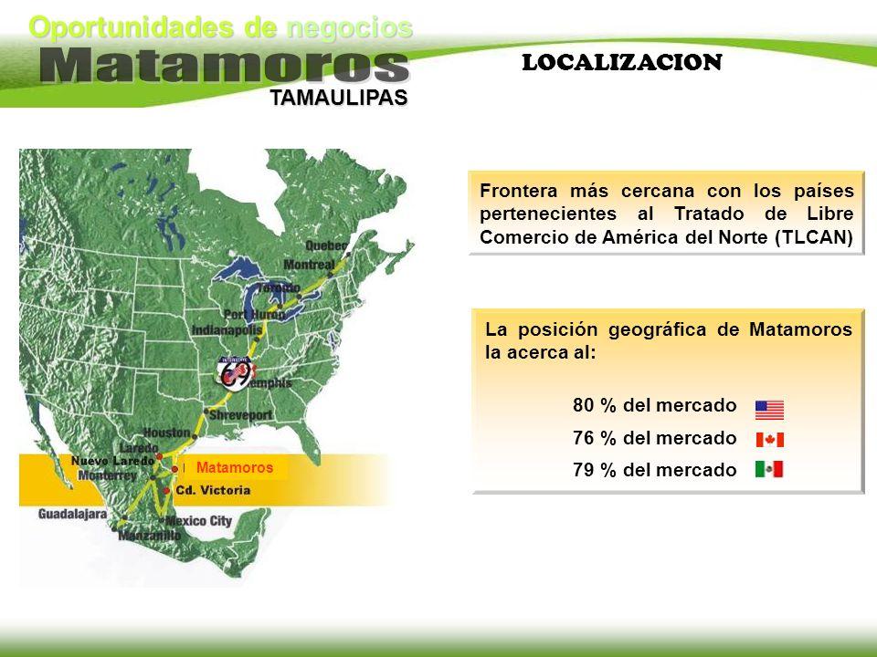 LOCALIZACION Frontera más cercana con los países pertenecientes al Tratado de Libre Comercio de América del Norte (TLCAN)