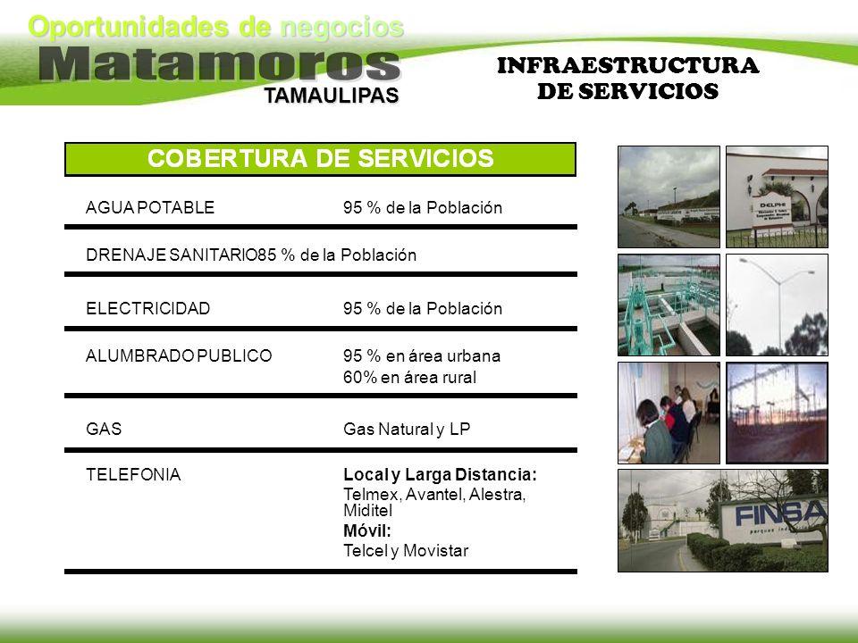 INFRAESTRUCTURA DE SERVICIOS AGUA POTABLE 95 % de la Población