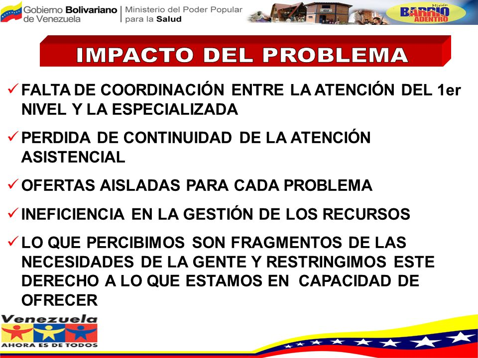 IMPACTO DEL PROBLEMA FALTA DE COORDINACIÓN ENTRE LA ATENCIÓN DEL 1er NIVEL Y LA ESPECIALIZADA. PERDIDA DE CONTINUIDAD DE LA ATENCIÓN ASISTENCIAL.