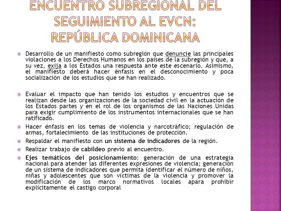 Encuentro subregional del seguimiento al EVCN: república dominicana