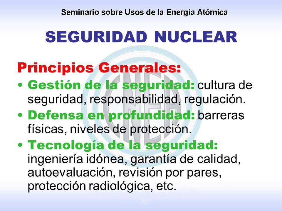 SEGURIDAD NUCLEAR Principios Generales: