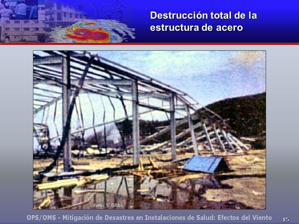 Destrucción total de la estructura de acero