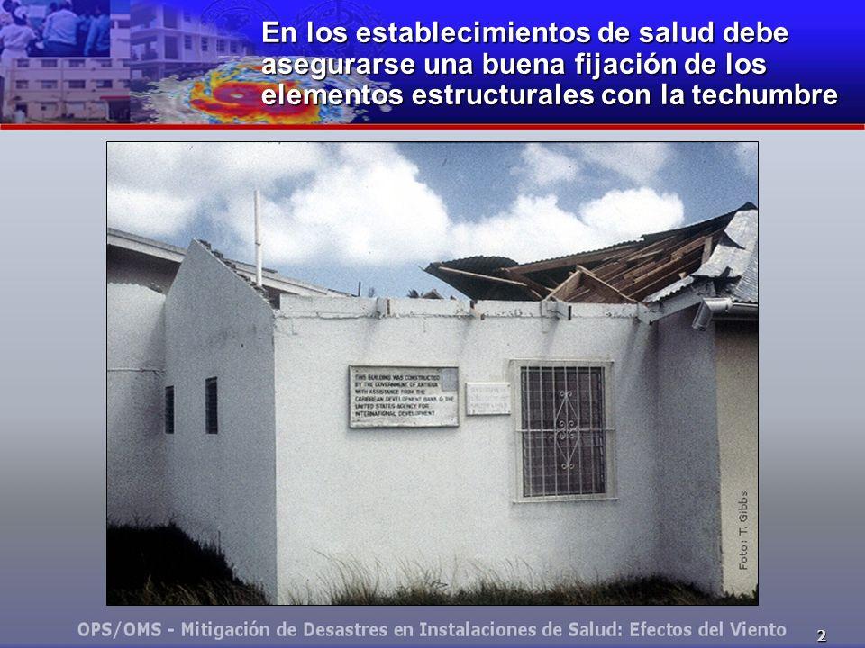 En los establecimientos de salud debe asegurarse una buena fijación de los elementos estructurales con la techumbre