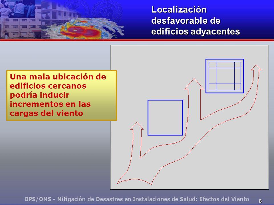 Localización desfavorable de edificios adyacentes