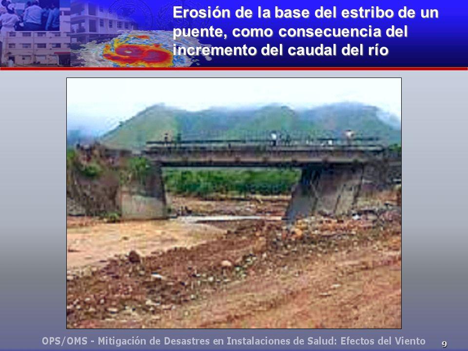 Erosión de la base del estribo de un puente, como consecuencia del incremento del caudal del río