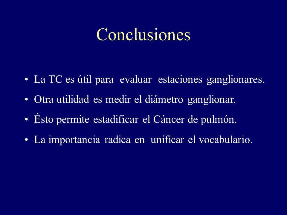 Conclusiones La TC es útil para evaluar estaciones ganglionares.