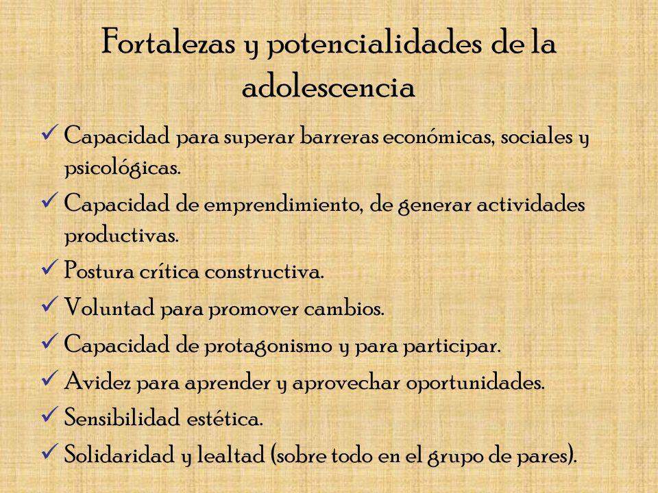 Fortalezas y potencialidades de la adolescencia