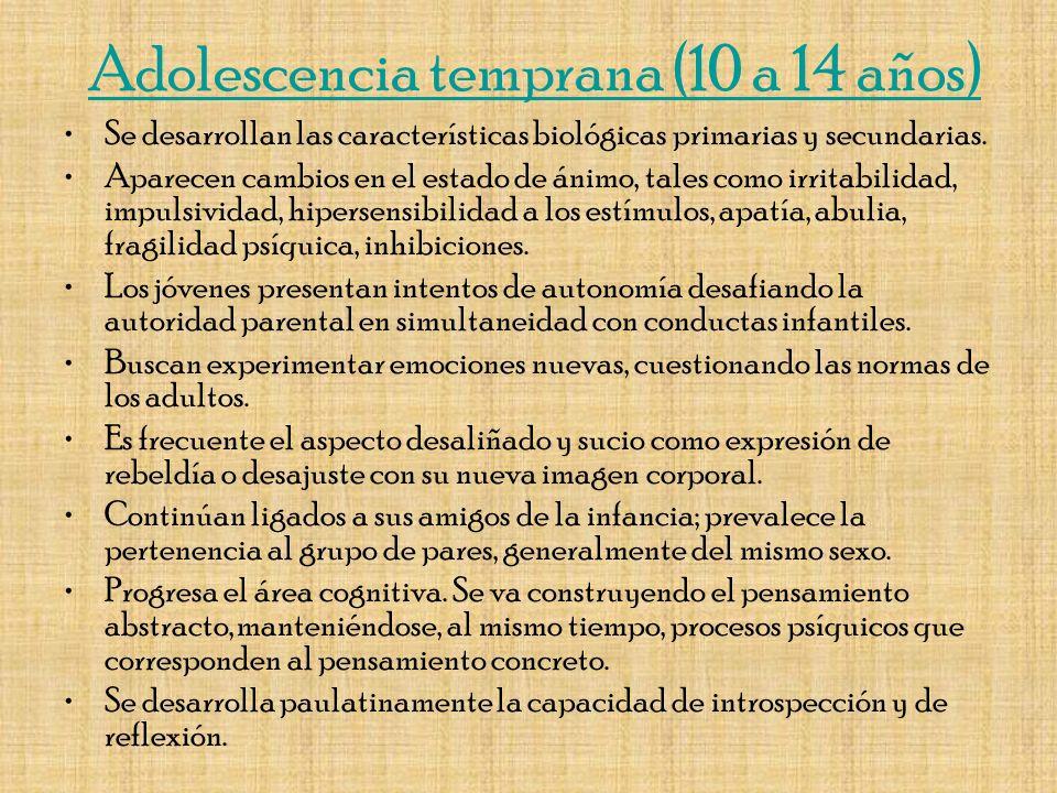 Adolescencia temprana (10 a 14 años)