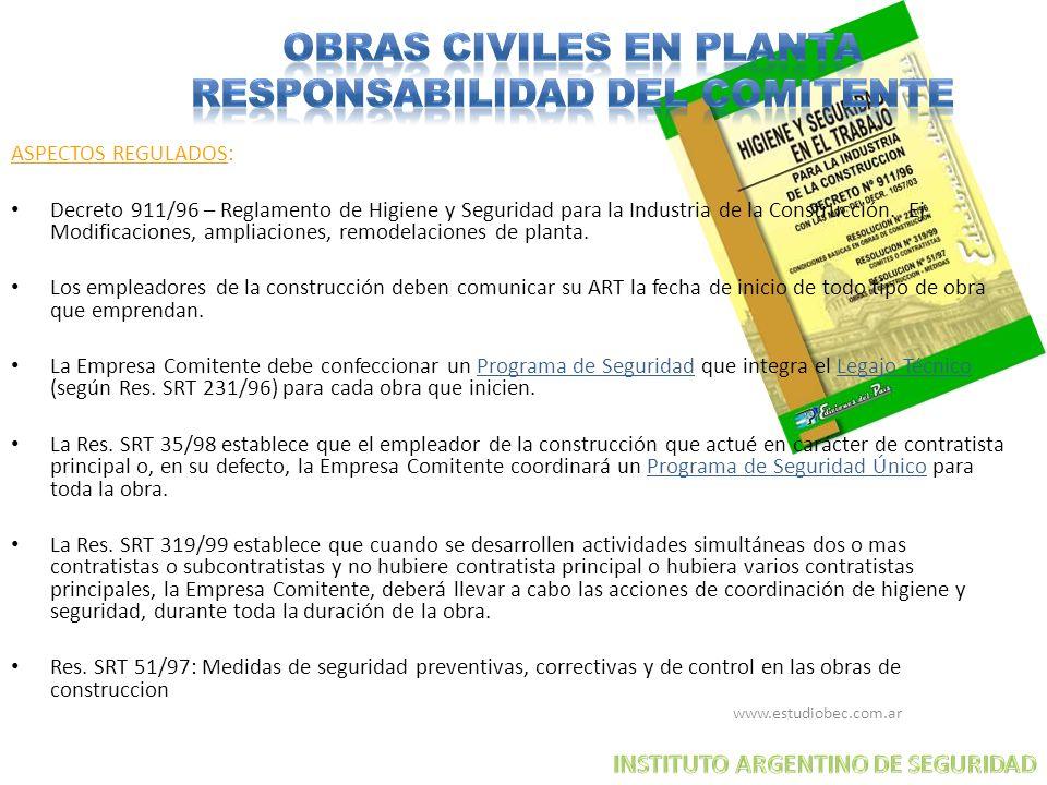 OBRAS CIVILES EN PLANTA RESPONSABILIDAD DEL COMITENTE