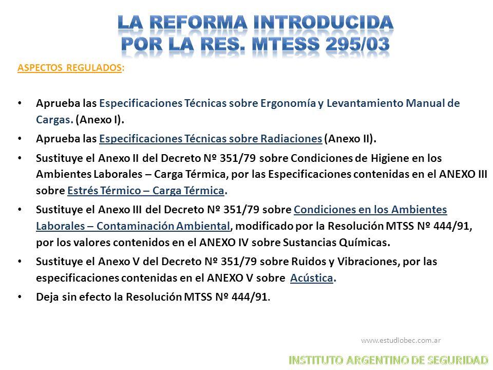 LA REFORMA INTRODUCIDA POR LA RES. MTESS 295/03
