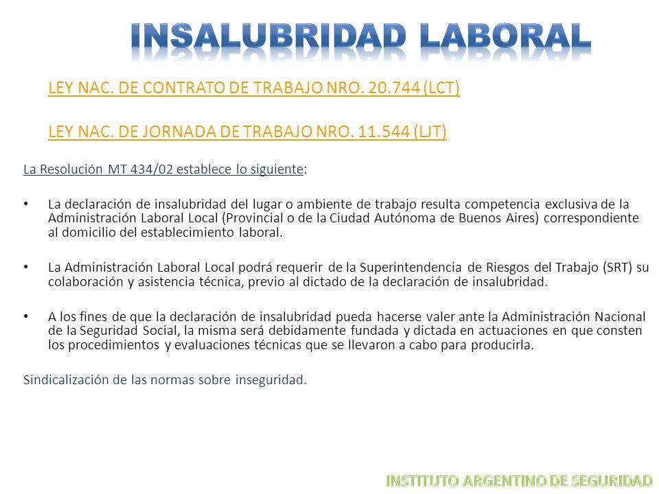 INSALUBRIDAD LABORAL LEY NAC. DE JORNADA DE TRABAJO NRO. 11.544 (LJT)