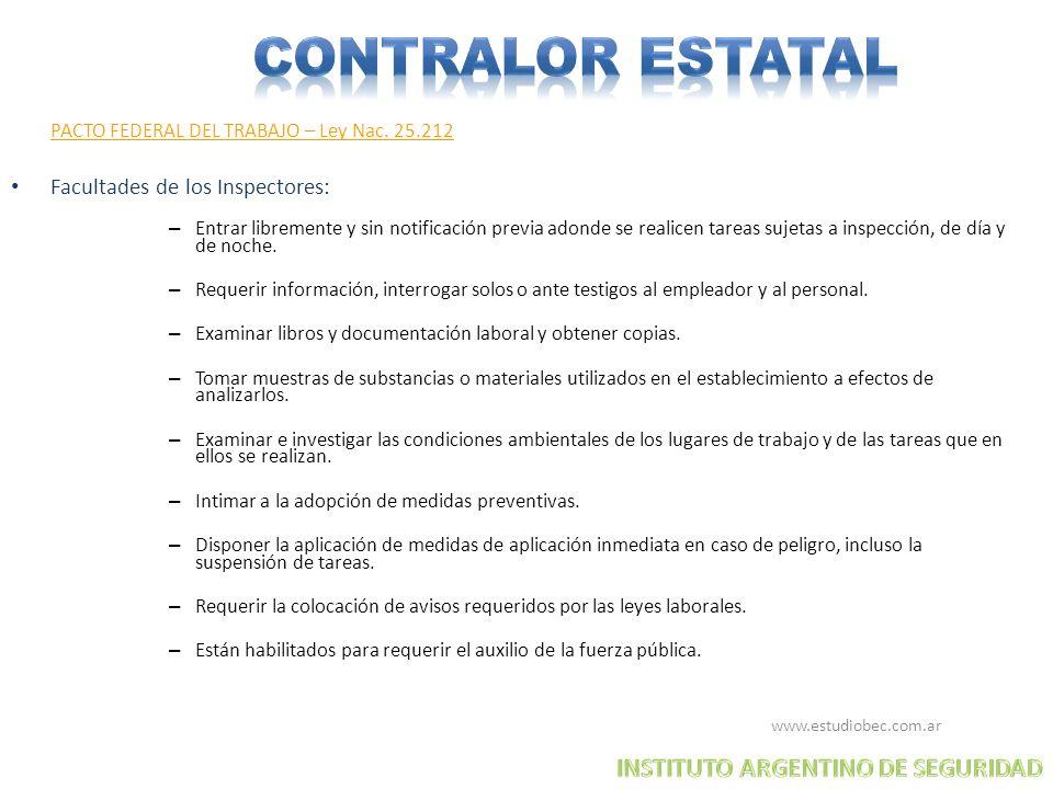 CONTRALOR ESTATAL INSTITUTO ARGENTINO DE SEGURIDAD
