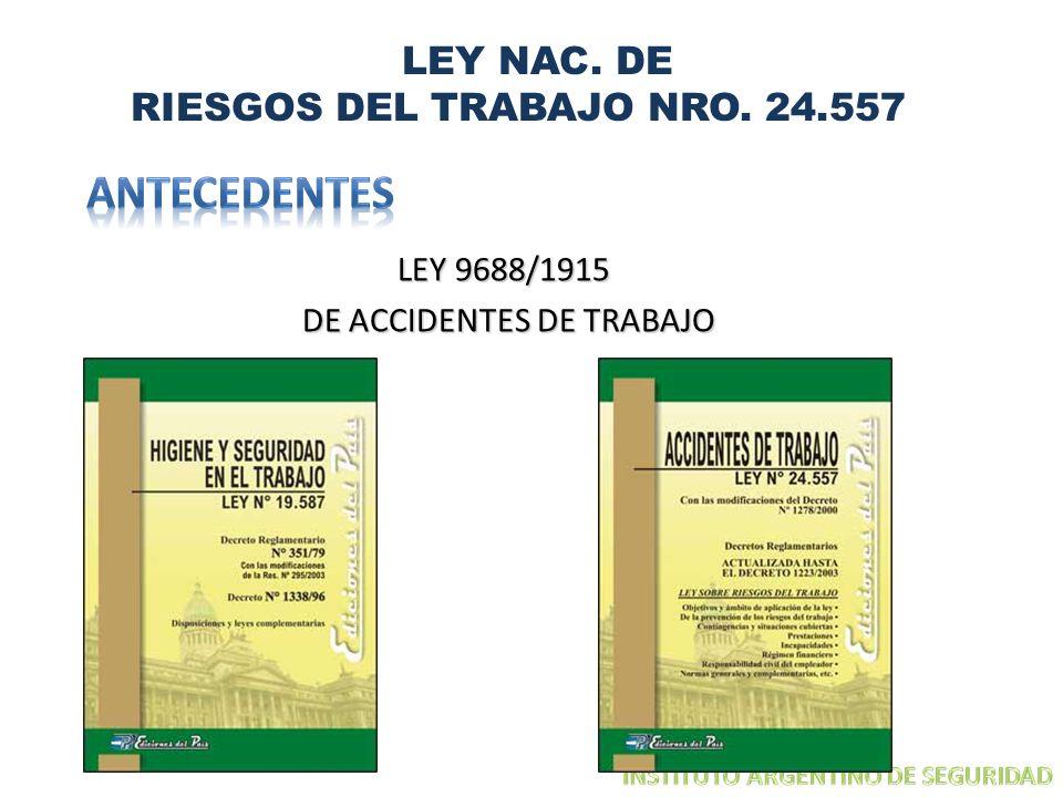 ANTECEDENTES LEY NAC. DE RIESGOS DEL TRABAJO NRO. 24.557 LEY 9688/1915