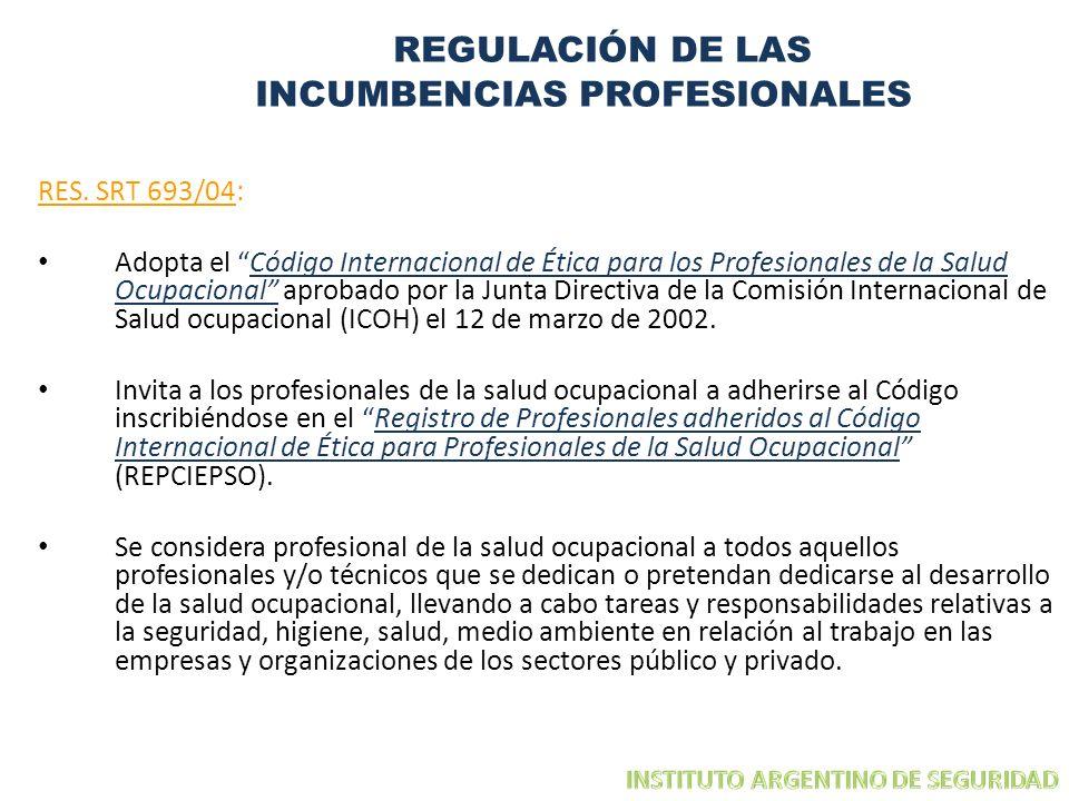 REGULACIÓN DE LAS INCUMBENCIAS PROFESIONALES