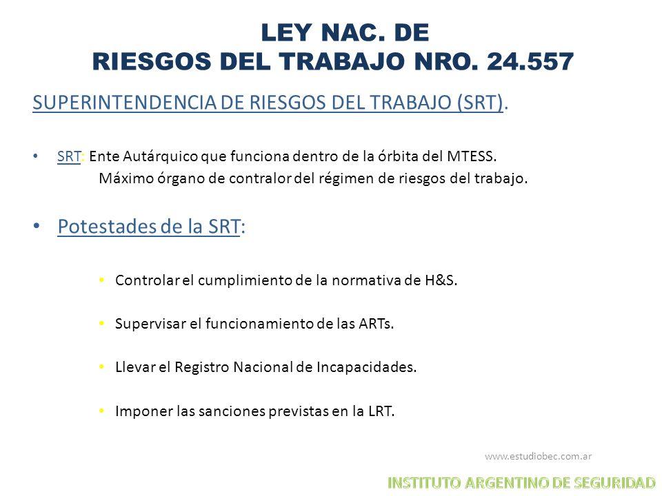 LEY NAC. DE RIESGOS DEL TRABAJO NRO. 24.557