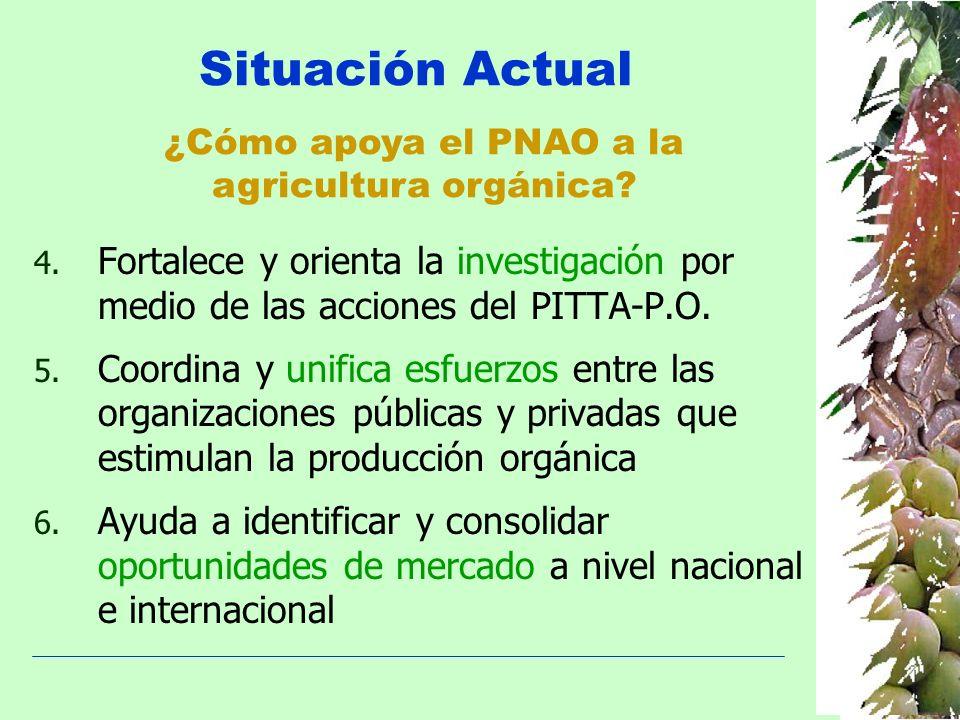 Situación Actual ¿Cómo apoya el PNAO a la. agricultura orgánica Fortalece y orienta la investigación por medio de las acciones del PITTA-P.O.