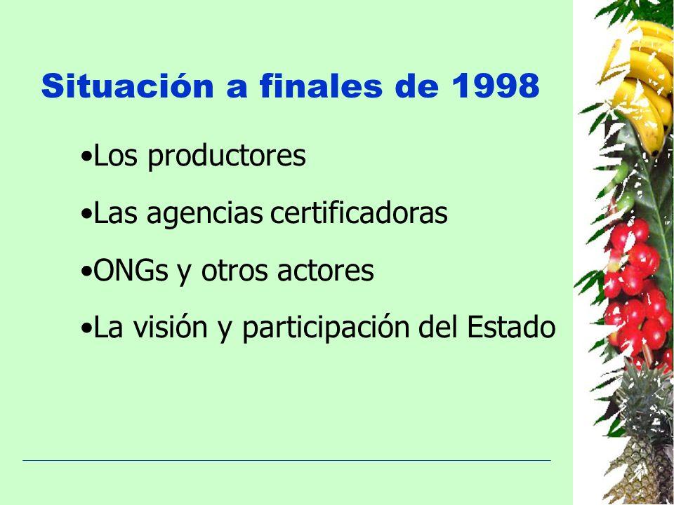 Situación a finales de 1998 Los productores