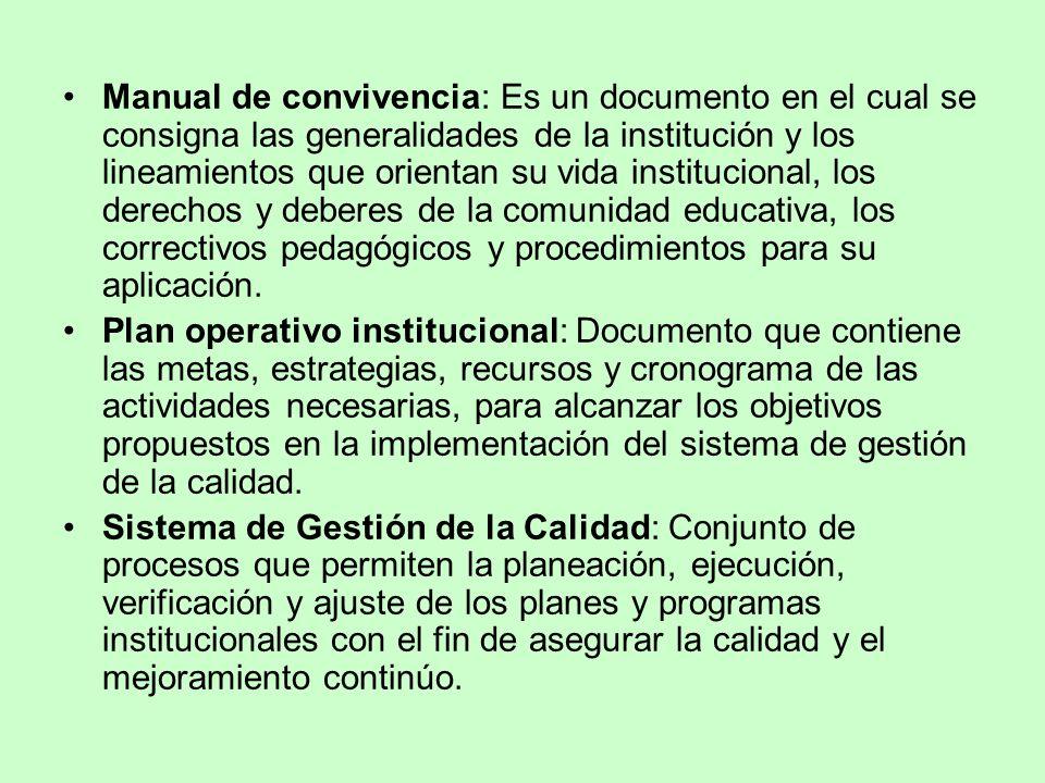 Manual de convivencia: Es un documento en el cual se consigna las generalidades de la institución y los lineamientos que orientan su vida institucional, los derechos y deberes de la comunidad educativa, los correctivos pedagógicos y procedimientos para su aplicación.