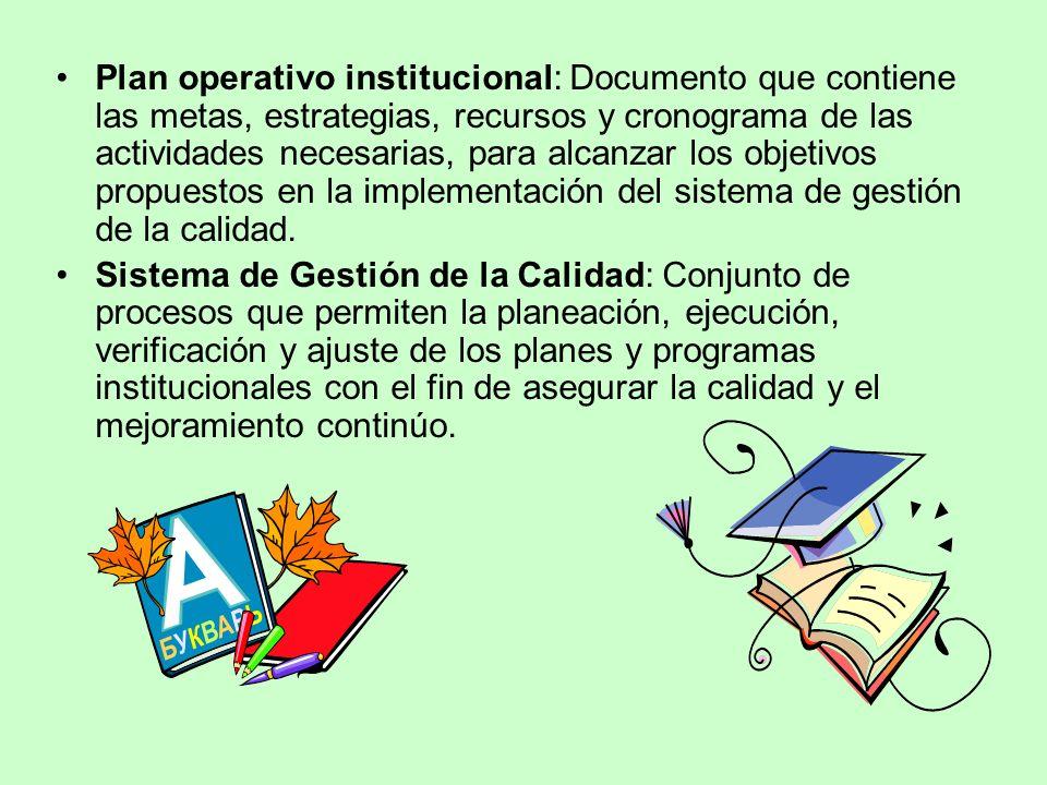 Plan operativo institucional: Documento que contiene las metas, estrategias, recursos y cronograma de las actividades necesarias, para alcanzar los objetivos propuestos en la implementación del sistema de gestión de la calidad.