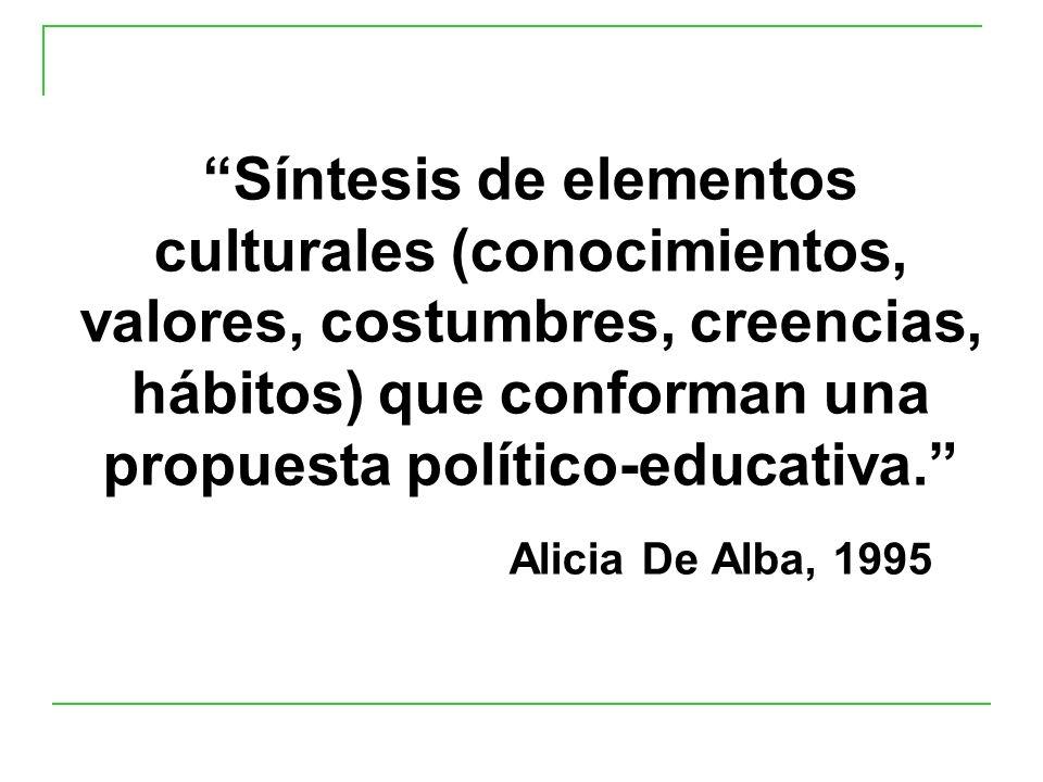 Síntesis de elementos culturales (conocimientos, valores, costumbres, creencias, hábitos) que conforman una propuesta político-educativa. Alicia De Alba, 1995