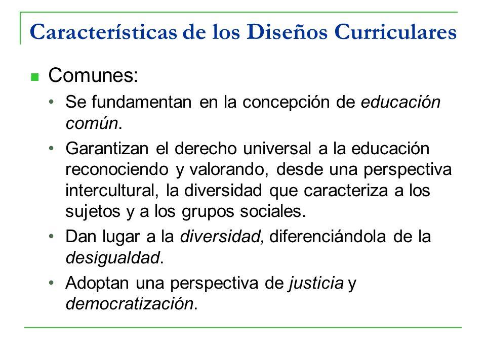 Características de los Diseños Curriculares