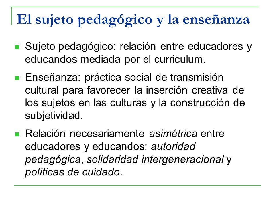 El sujeto pedagógico y la enseñanza