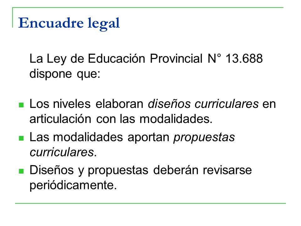 Encuadre legal La Ley de Educación Provincial N° 13.688 dispone que: