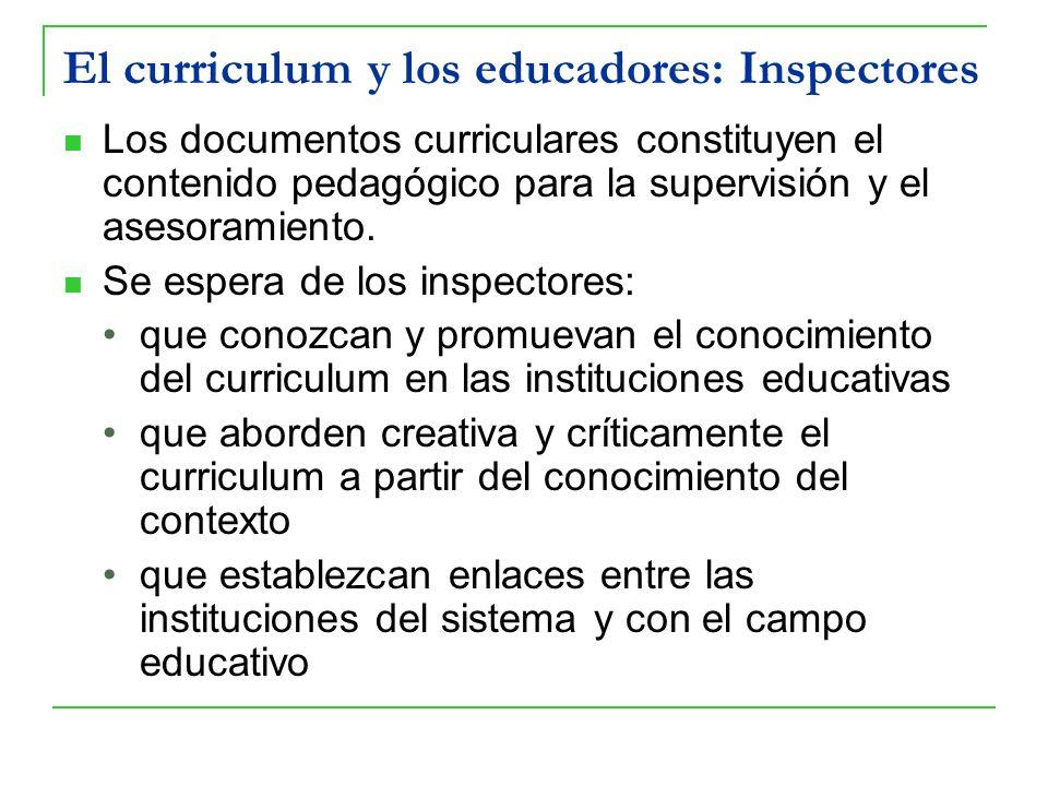 El curriculum y los educadores: Inspectores